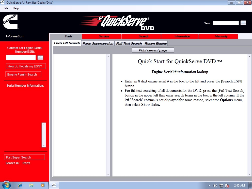 <b>Cummins QuickServe 2014 for All Families Engines</b><br>Parts catalog and service information for Cummins Heavy Duty, Middle Range and High Horse Power families