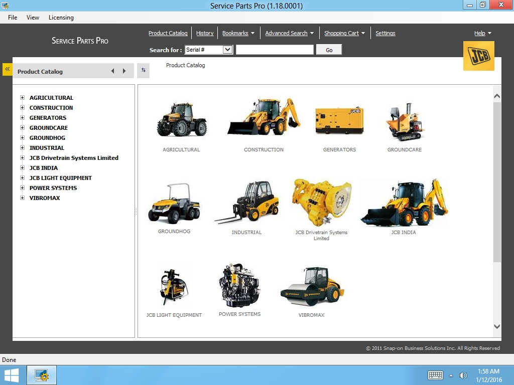 <b>JCB SPP Parts Catalog 1.18 / 2015 <sup><font color=red>NEW</font></sup></b><br>ParsPro, electronic parts catalog for all JCB models
